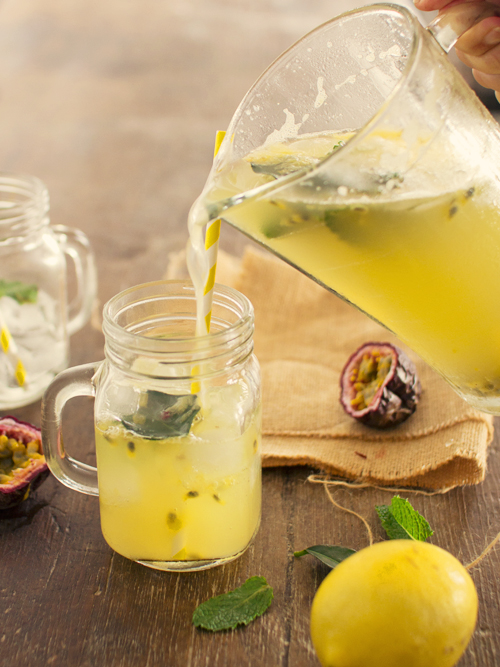 passionfruit kaffir lime lemonade