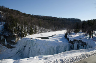 Middle Falls, Letchworth State Park, with trestle bridge