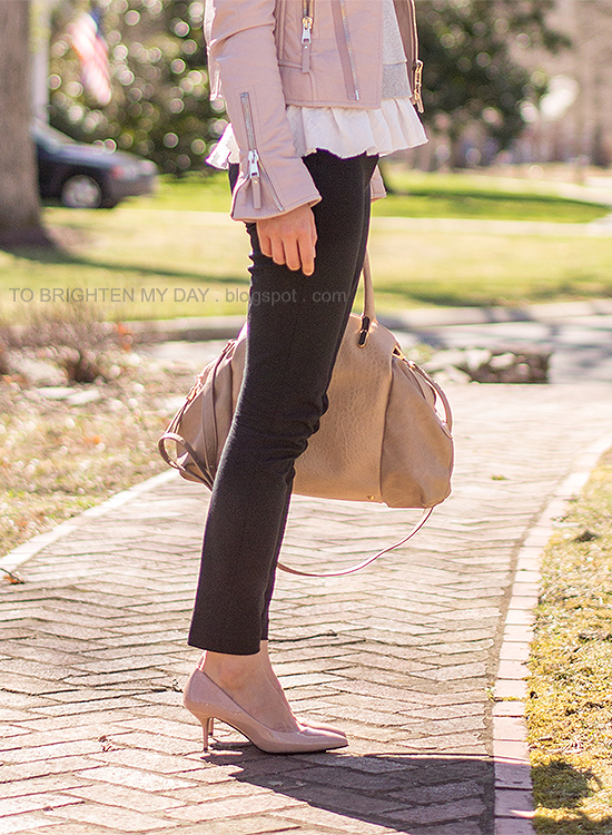 lilac leather jacket, gray ruffled sweatshirt, taupe satchel, nude pumps