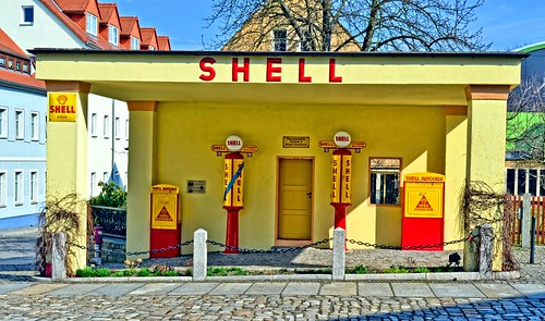 Historic gas station in Kamenz, Germany