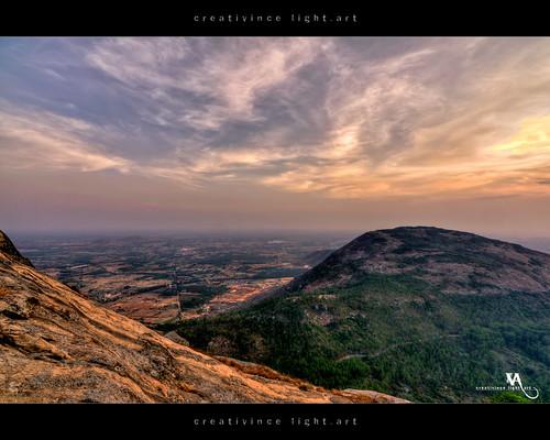 sunset sun clouds horizon hill bangalore valley karnataka hdr nandihills creativince creativincehdr