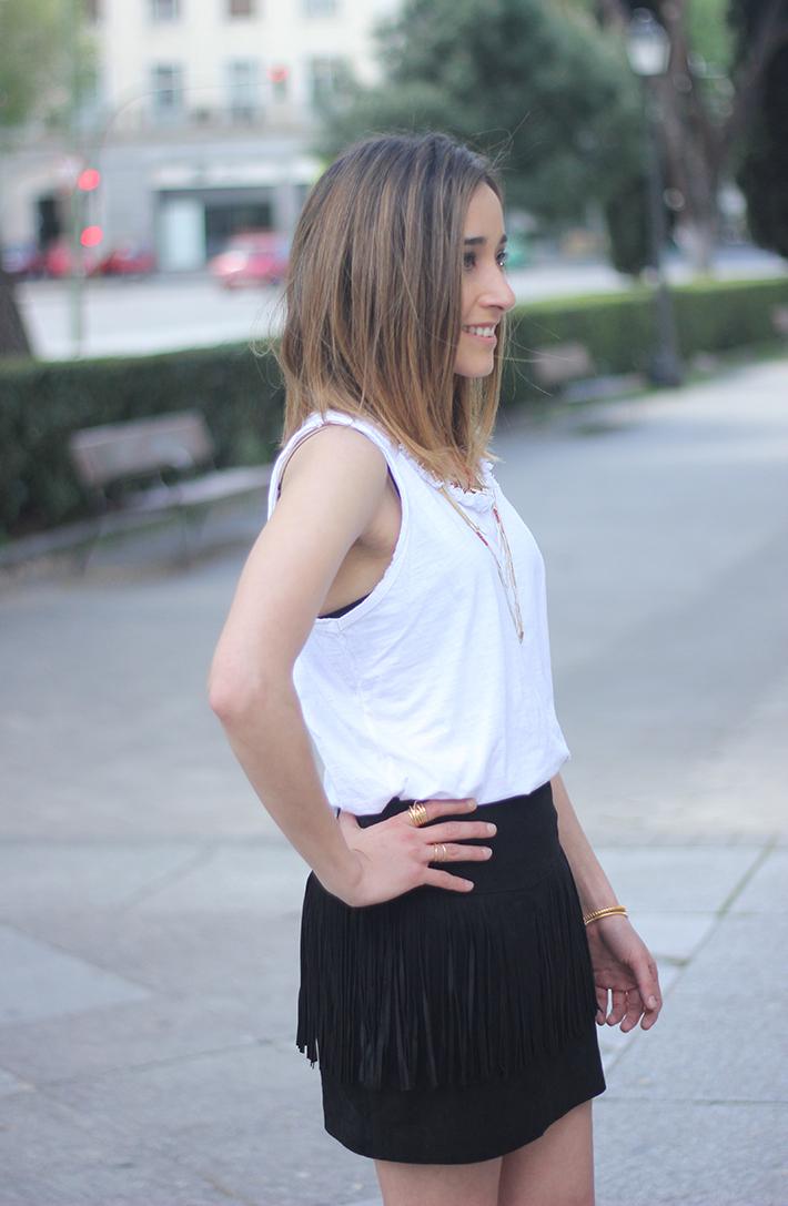 Fringed Black Skirt heels denim jacket07