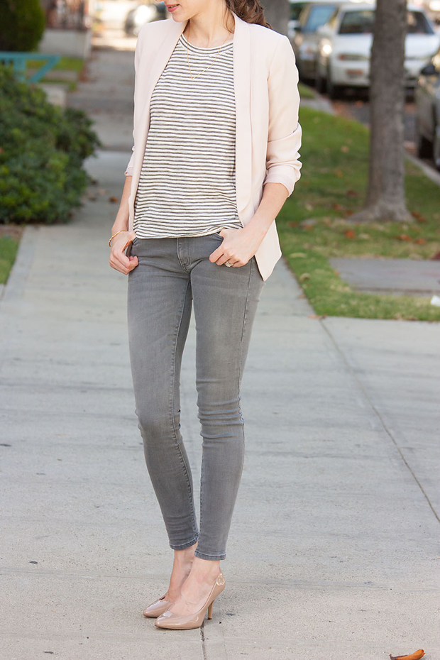 Blush Blazer, Striped Tee, Grey Jeans