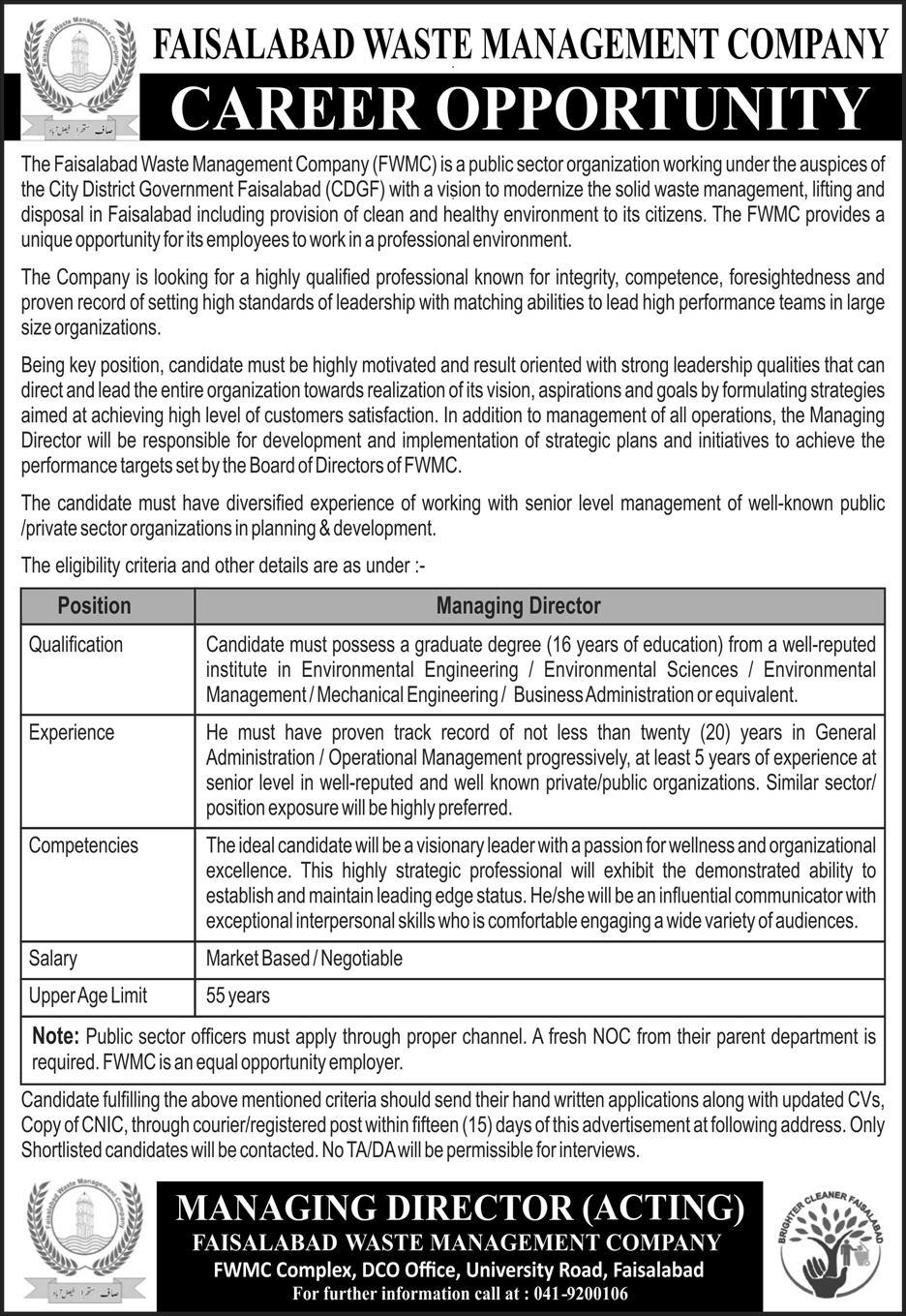 Faislabad Waste Management Company Managing Director Position