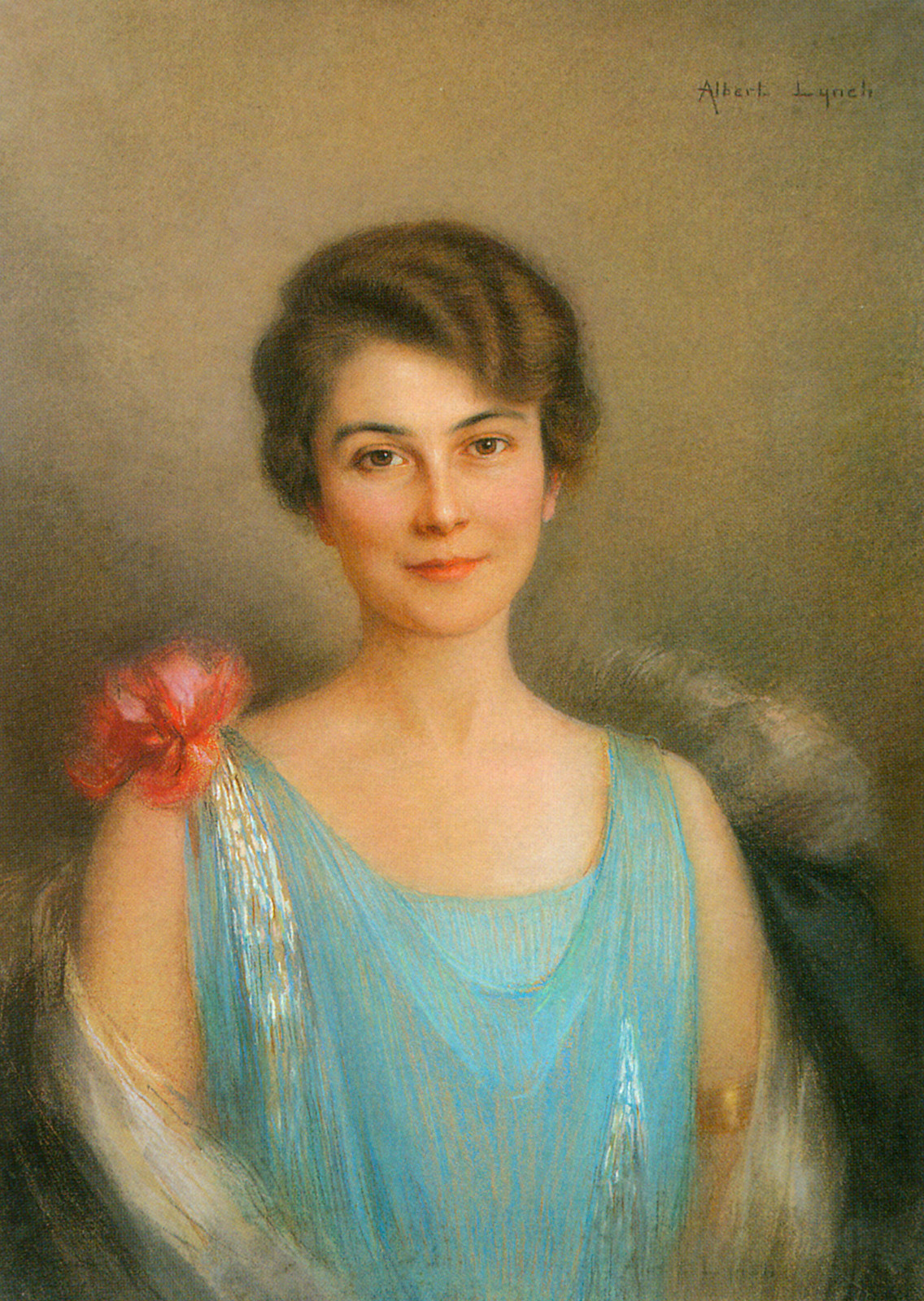 Portrait Of A Lady In Blue by Albert Lynch