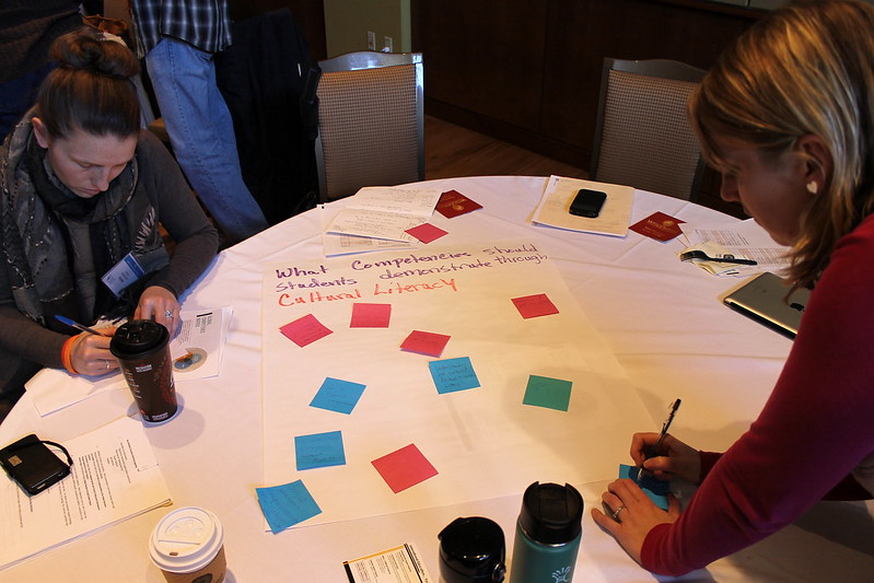 Teachers working at a table with a newsprint sheet on which is handwritten the title, 'What Comptencies shoudl students demonstrate through Cultural Literacy'. Below are various sticky notes in a variety of colors.