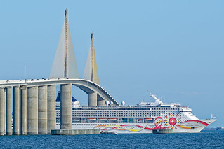 Norwegian Sun's smoke stack about to go under the Sunshine Skyway Bridge