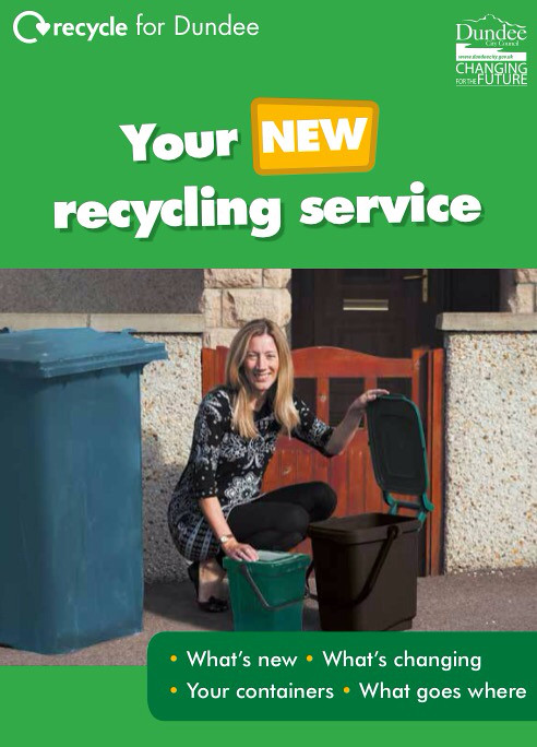 Your new recycling services in Dundee, Front cover of public information booklet issued March 2015