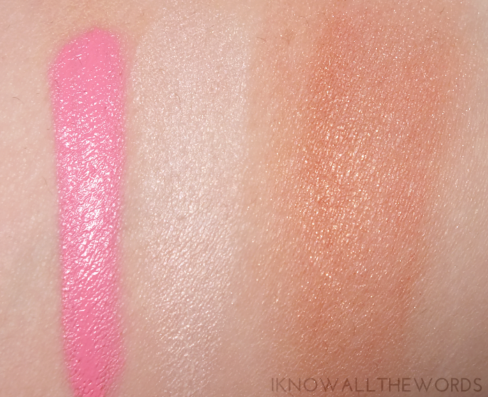 too faced melted frosting, avon anew reversalist brightening veil, mark coral glow shimmer cream cubes swatches