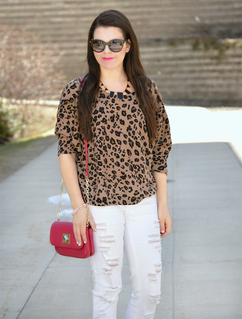 white pants animal print top