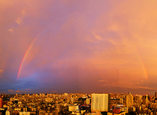 china sunset skyline skyscraper rainbow haikou hainan