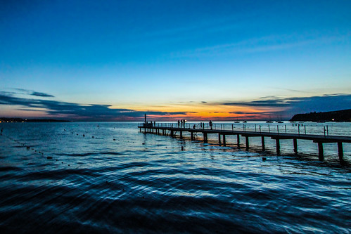 blue sunset sea water silhouette canon pier jetty slovenia hdr photomatix ankaran