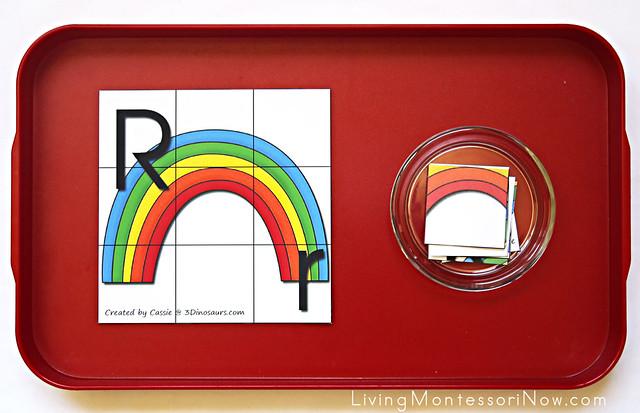Letter Rr Rainbow Puzzle