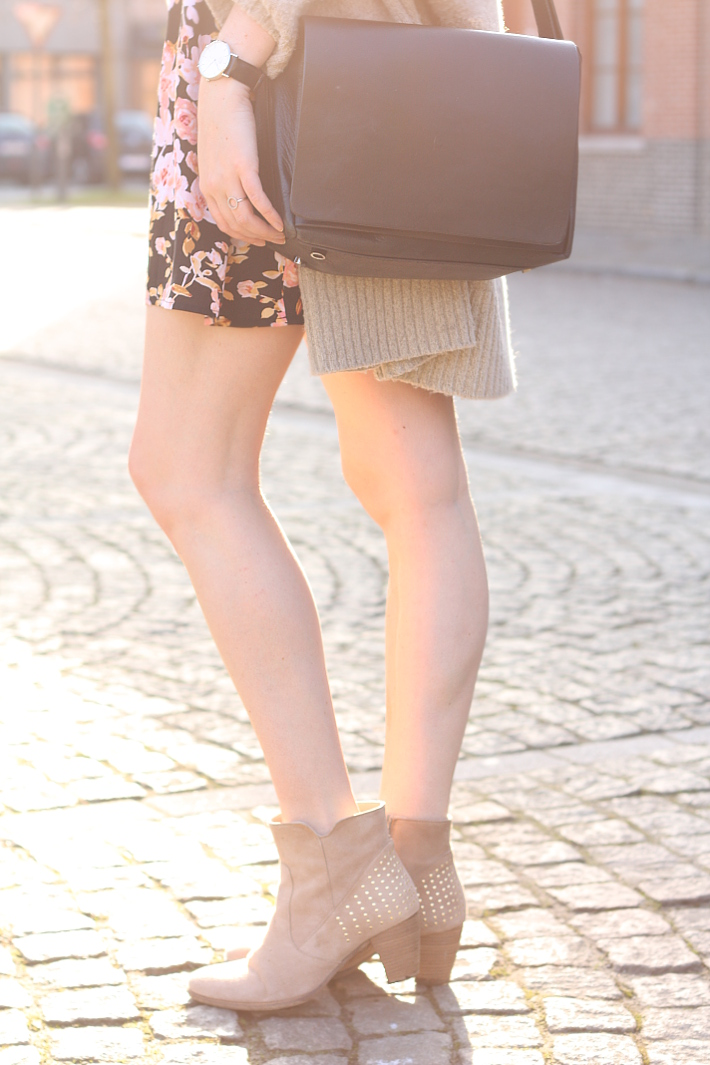 spring outfit: studded camel ankle boots, leather satchel bag