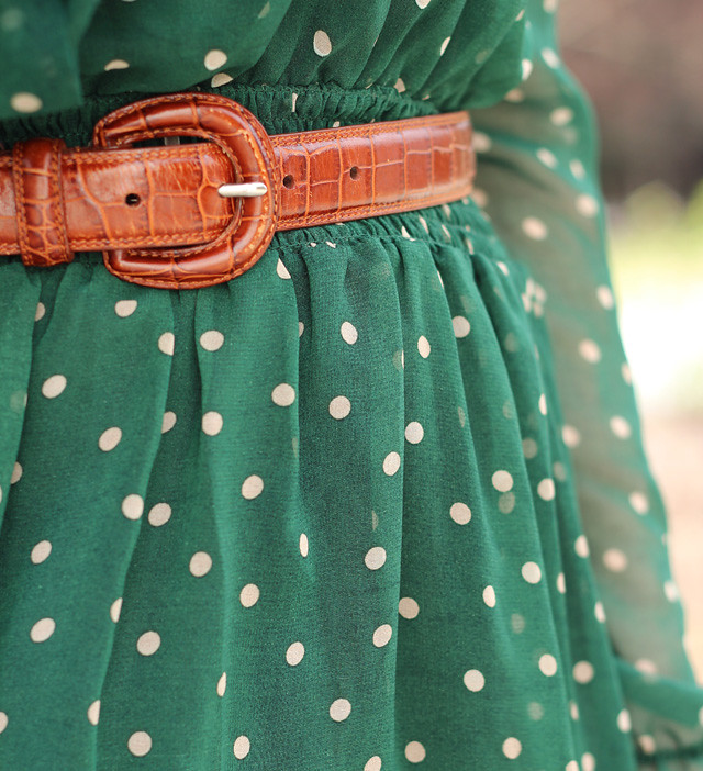 Dark Green Polka Dot Romwe Dress Detailing