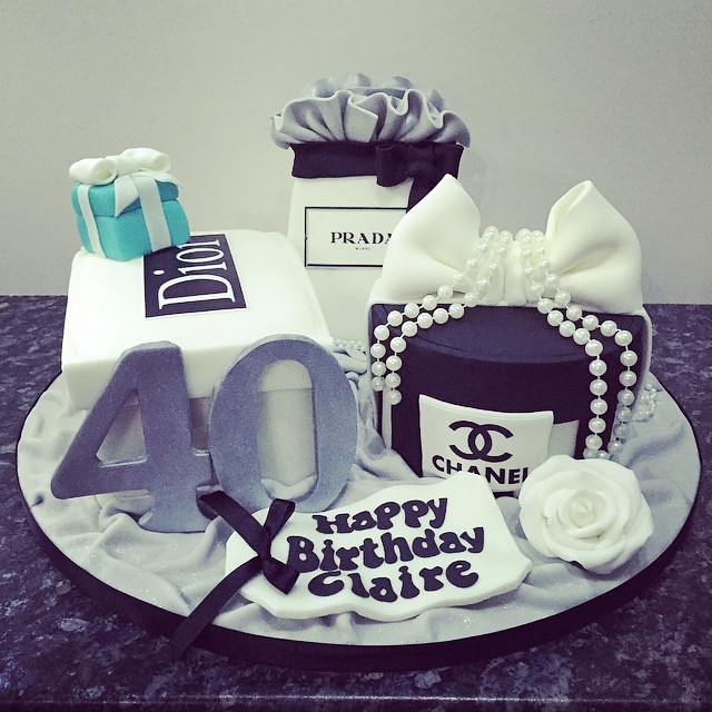 Yesterdays Fabulous 40th Birthday Cake For Claire With Her Favourite Designer Shopping Bag Boxes