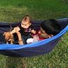 My niece Ava, my nephew Jacob and my grand puppy Willie! It's hammock weather!