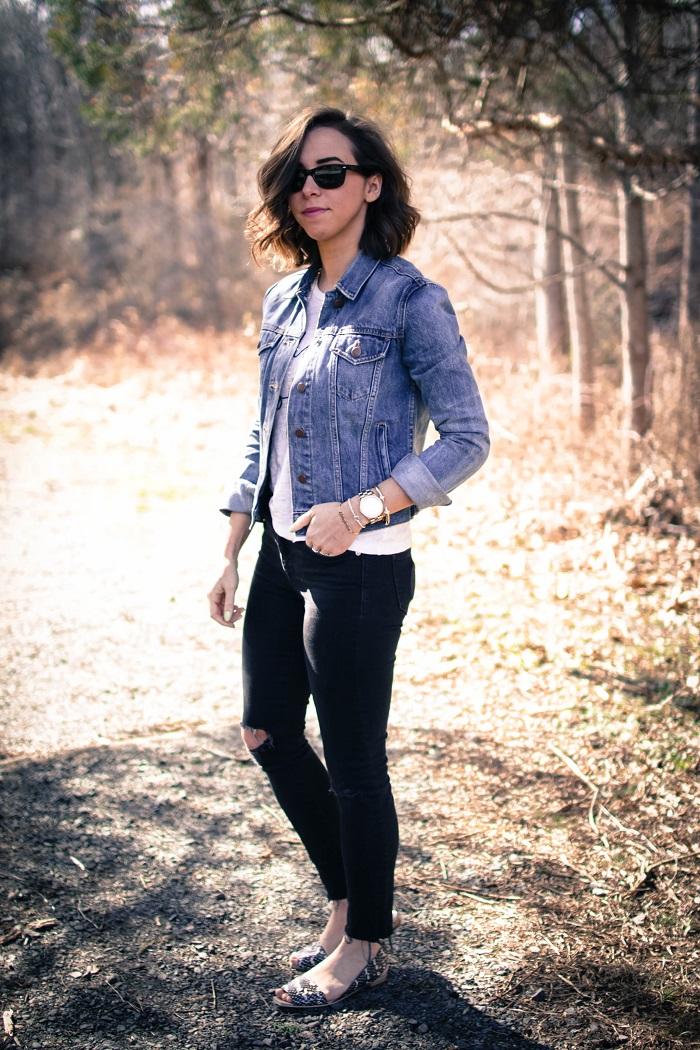 a viza style. andrea viza. fashion blogger. dc blogger. denim jacket. destroyed madewell jeans. saint & libertine sandals. casual style 3
