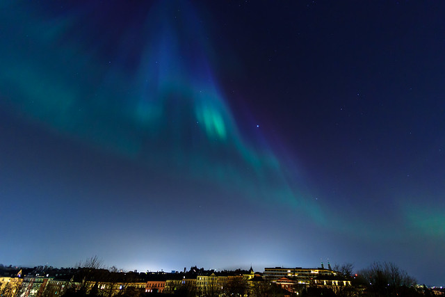 Amazing and extremely rare northern lights over Stockholm Södermalm