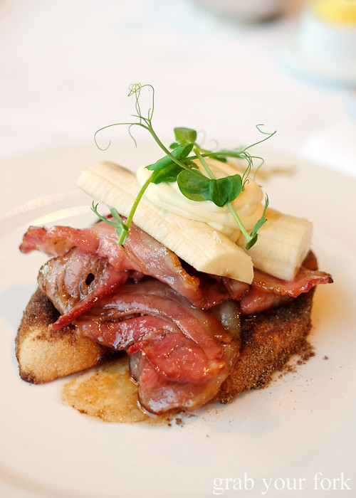 French toast with candied bacon, banana anad creme fraiche at Hippopotamus Restaurant at Museum Hotel, Wellington