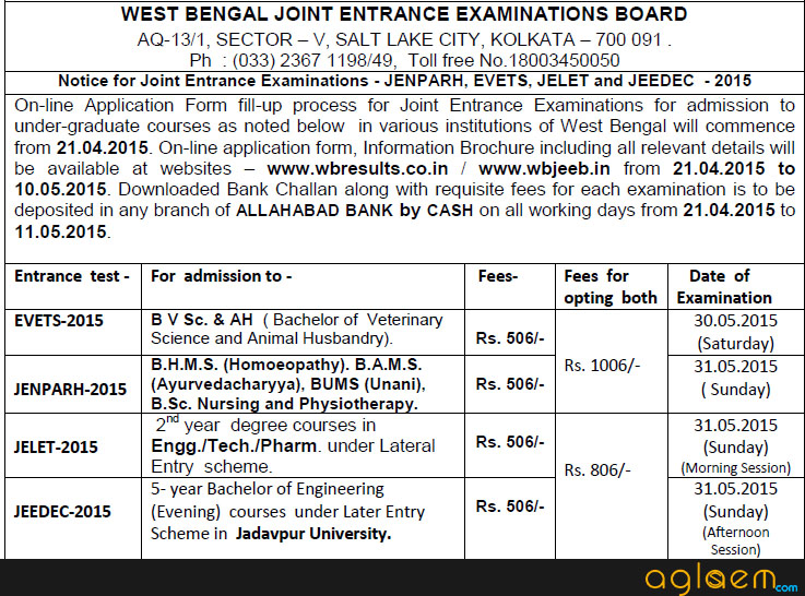 WBJEE JELET Application Form 2015