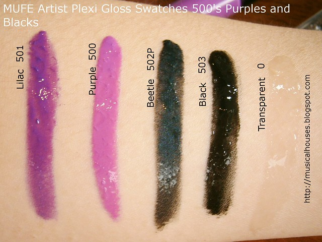 MUFE Artist Plexi Gloss Swatches 500s shades