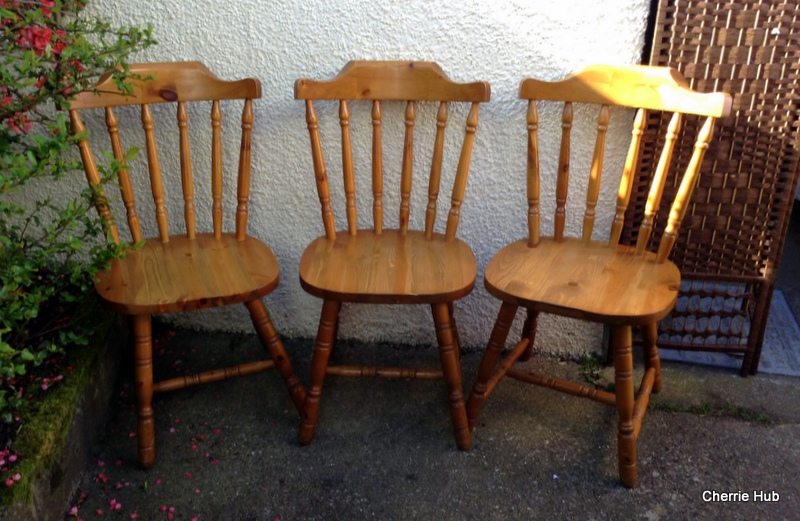 Three Farmhouse Pine Chairs Solid Dining Chairs EBay