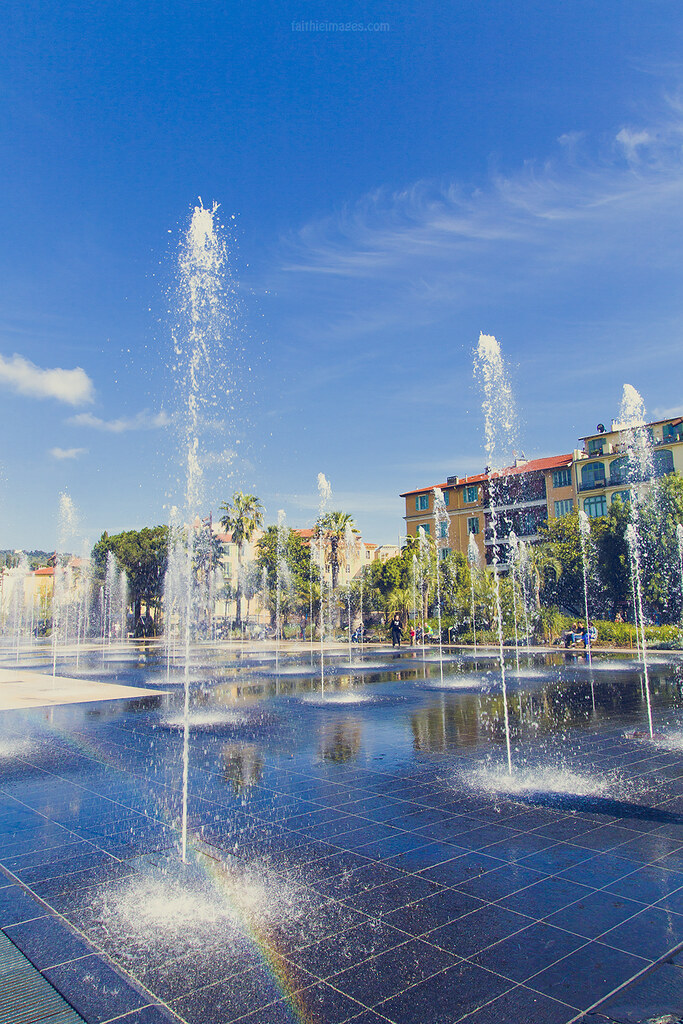 Water games in the Jardins du Paillon in Nice