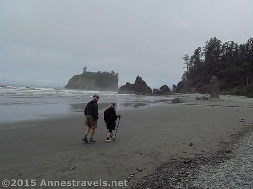 Hiking toward the sea stacks on Ruby Beach, Olympic National Park, Washington