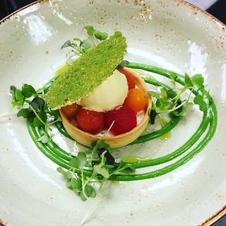 Tomato & Watermelon Tart, ricotta cheese, olive oil ice cream, garden cress