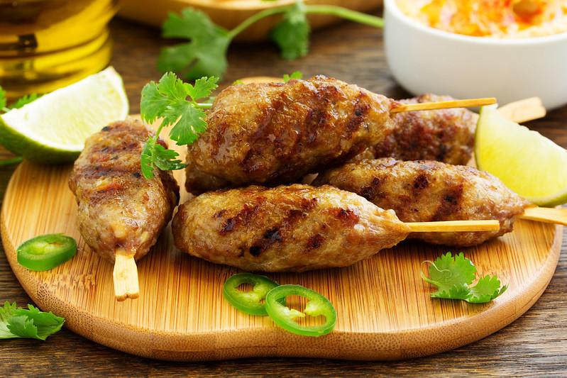 Kyufta (barbecue) of lamb with snacks
