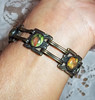 Vintage Early 20th Century Brass Chain Bracelet with Lithograph Cabachons