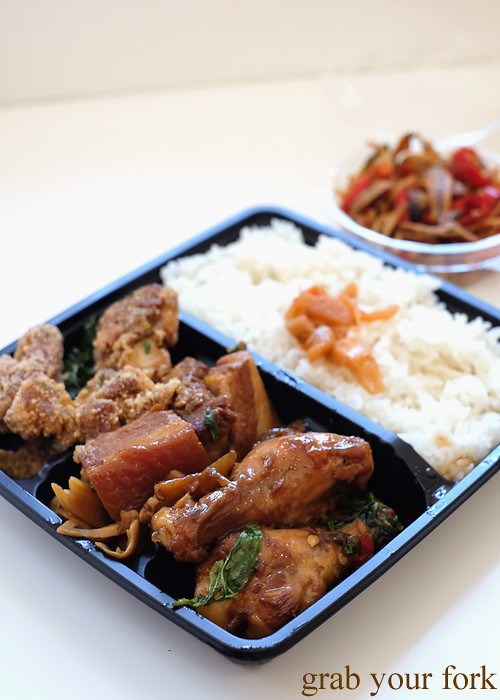 Taiwanese fried chicken, pork belly and three cup chicken lunchbox at Taste of Cho, Market City Chinatown