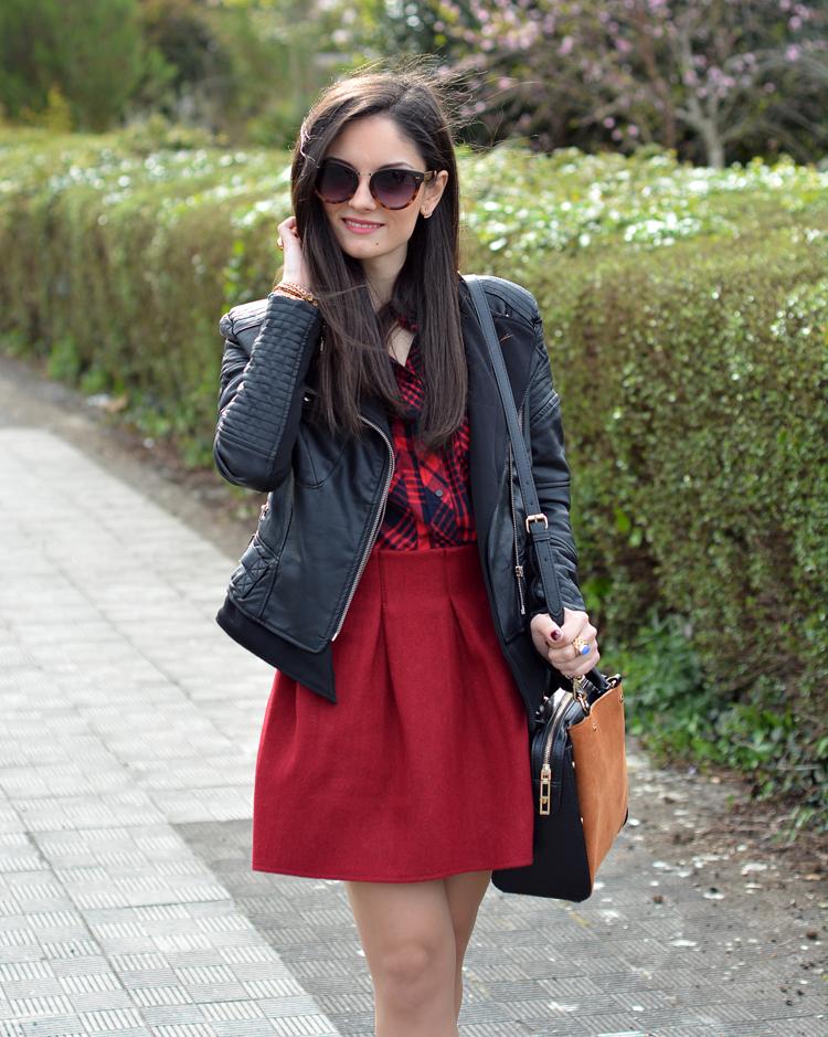 zara_ootd_outfit_falda roja_botines_sheinside_plaid_06