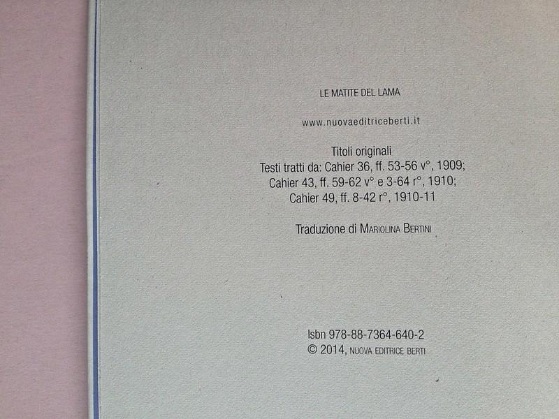 La ragazza con le rose rosse, di Marcel Proust. Nuova Editrice Berti 2014. [Responsabilità grafica non indicata]. Colophon, a pag. 4 (part.), 1