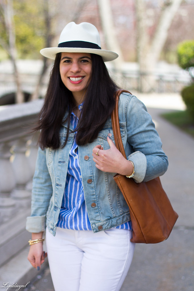 white jeans, striped top, denim jacket, panama hat-5.jpg