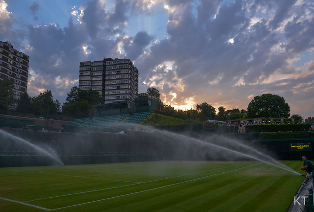 The sun sets on Wimbledon's Court 19