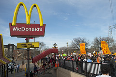 Fast food strike and protest for a $15/hour minimum wage at a McDonalds restaurant