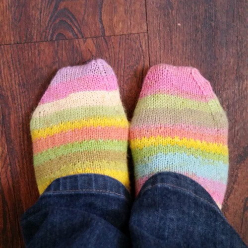 Today I'm wearing my newest pair of socks. #wearingmyhandknits #knitting