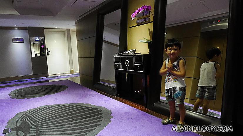 Asher at the lift lobby in Sofitel Saigon Plaza