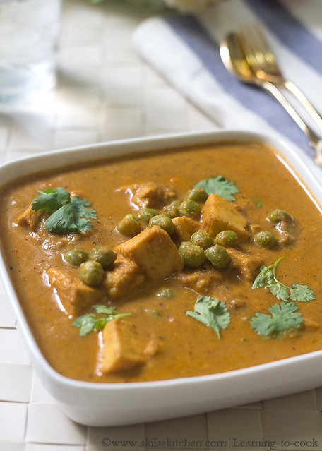 Paneer and green peas curry