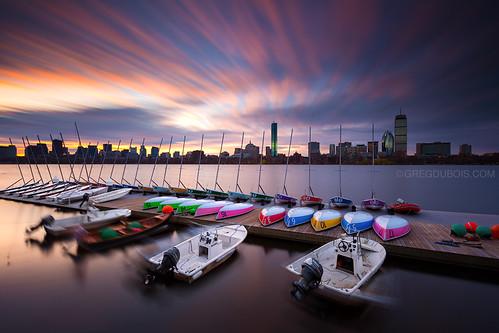 longexposure water clouds sunrise boats photography dock colorful charlesriver sailboats backbay hancocktower bostonskyline prudentialtower cloudmovement neutraldensity leefilters canon6d graduatedfilters gregdubois