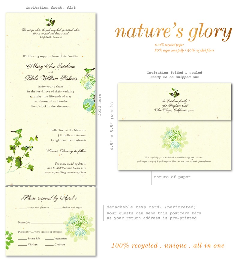 Send n Sealed Wedding invitations on 100% Recycled Paper - Nature\'s ...