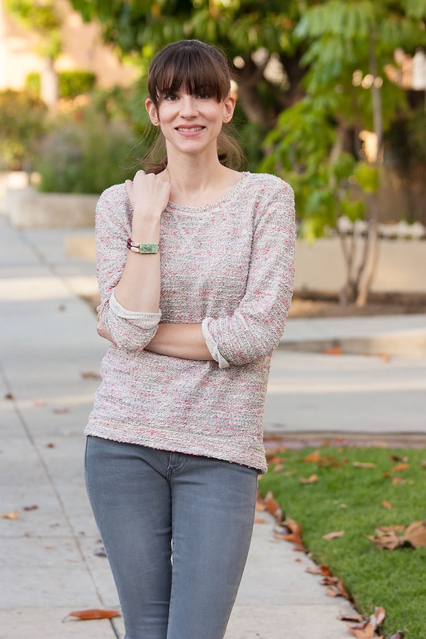 Pink Tweed Sweatshirt, Grey Jeans