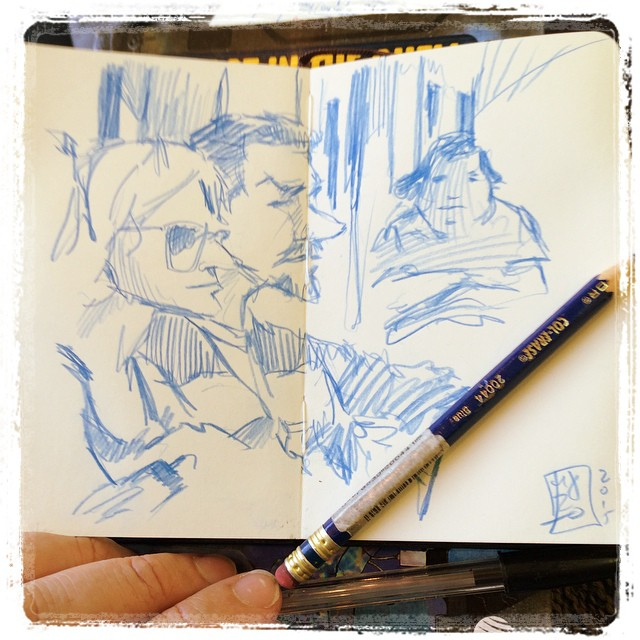 #train #urbansketch #portrait #colerase #blue