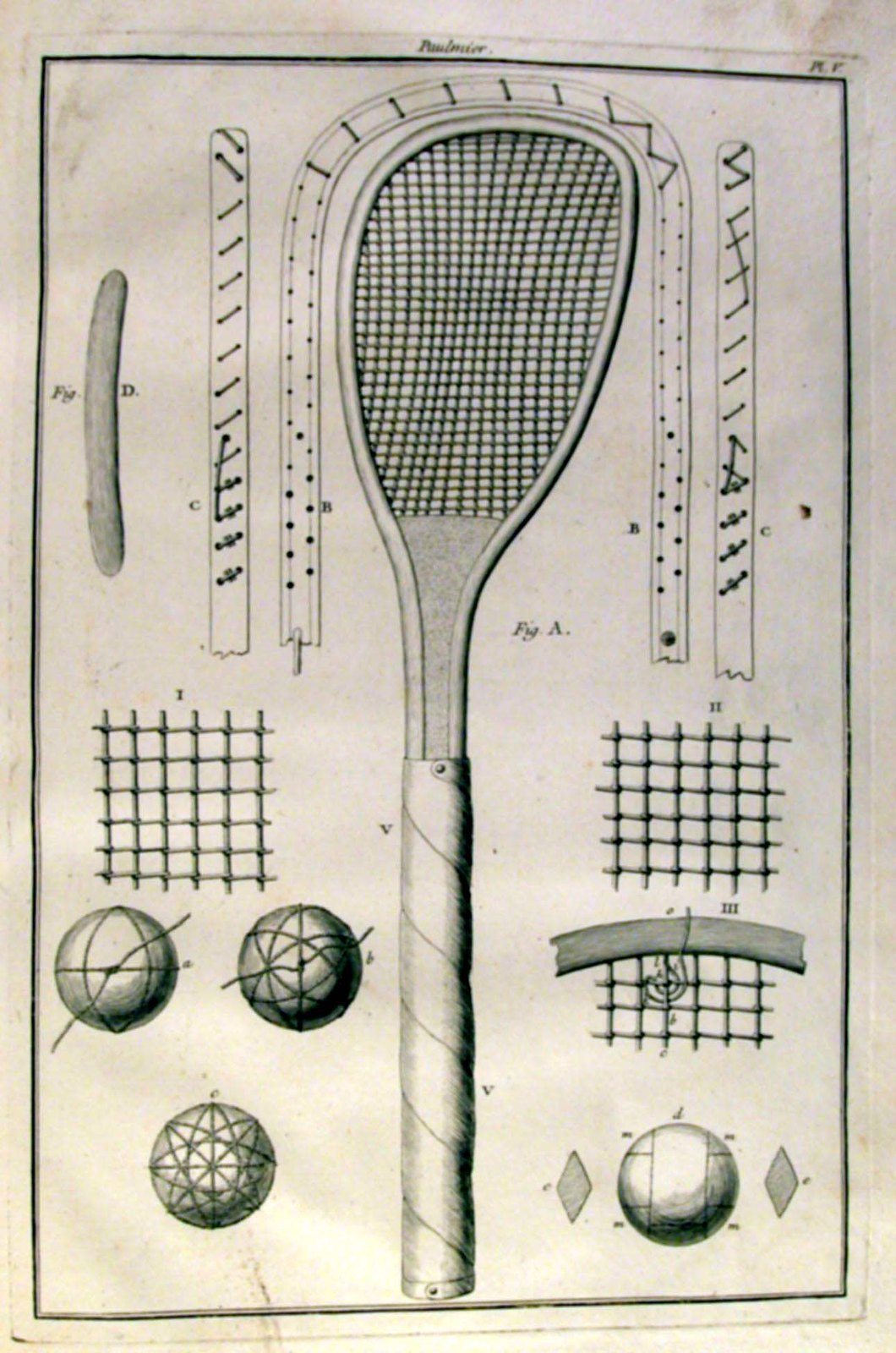 Creation of a tennis racket in the 18th century