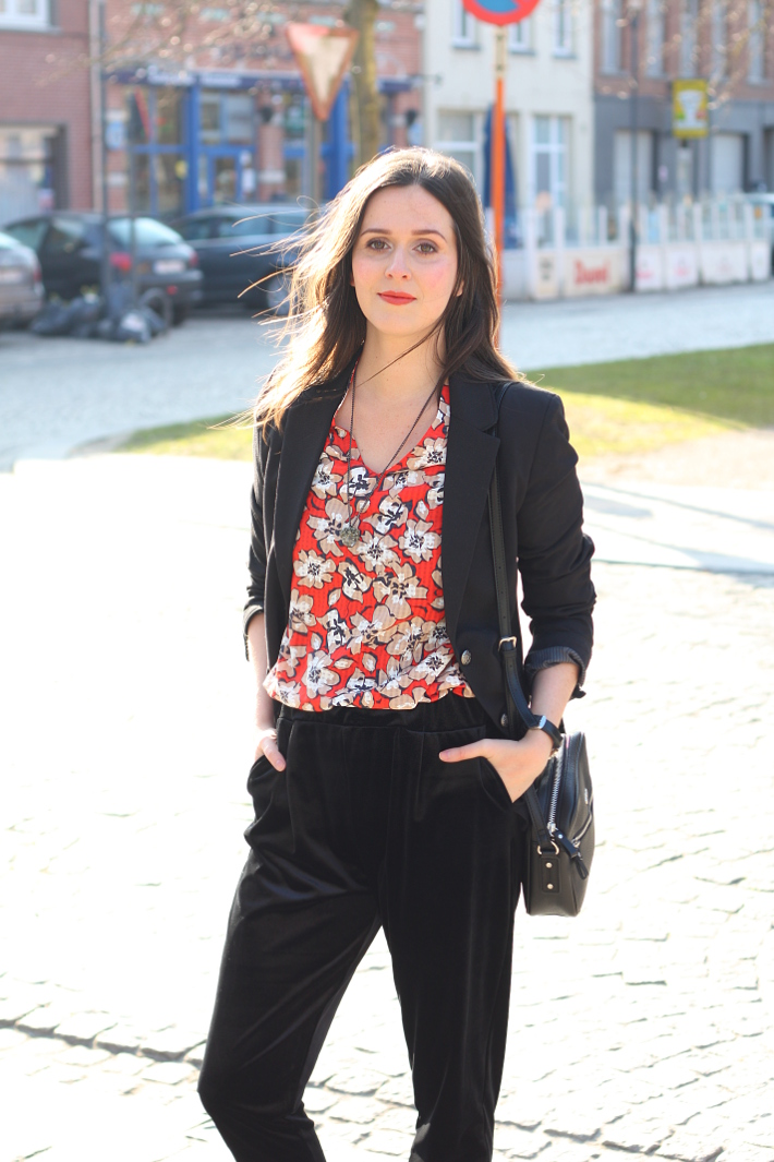 outfit: creative professional in blazer, floral blouse and velvet trousers