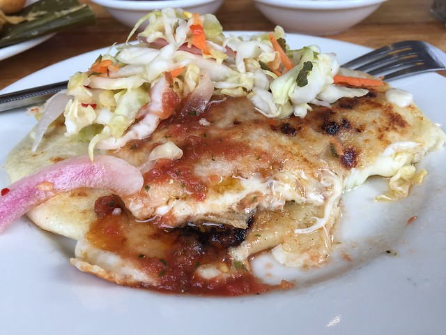 Ground pork and cheese pupusas - Balompie Cafe #3