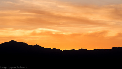 sunset sky mountains silhouette clouds airplane nevada dxo canonef24105f4l