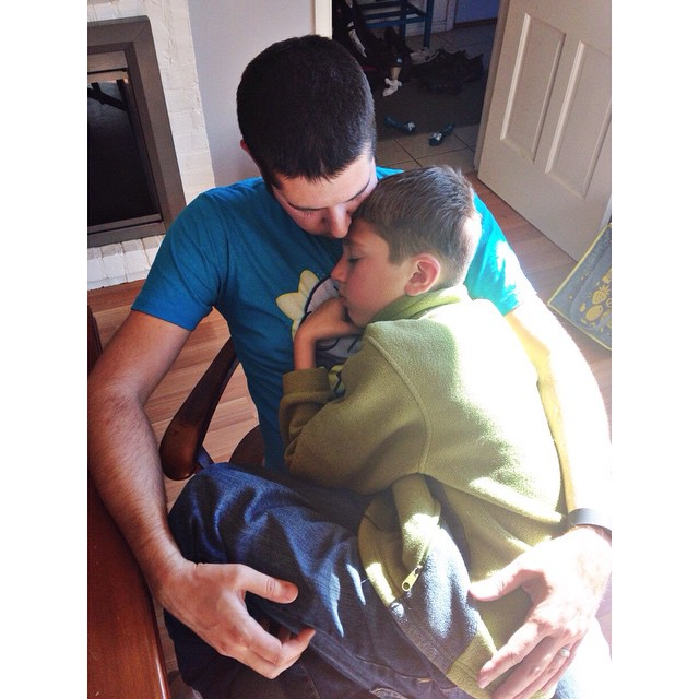 Sometimes 10 year olds need to cuddle too. #myethan @dimitri_bostinelos